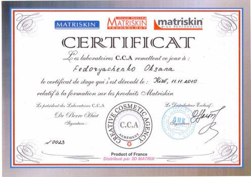 oksana fedoryachenko anacosmo certificates